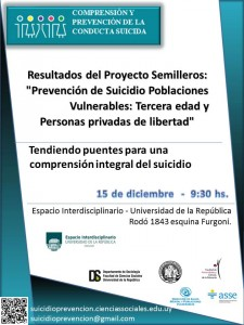 Presentación de Resultados del Proyecto Semilleros: Prevención de Suicidio en Poblaciones Vulnerables: Tercera Edad y PPL.